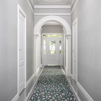Simulação moderna de corredor de interiores e design de sala de estar e papel de parede branco decoração de fundo renderização em 3d