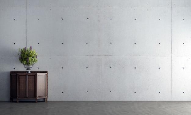 Simulação moderna de decoração de interiores e design de sala de estar e fundo de textura de parede de concreto vazia e console de madeira com pequena árvore de renderização 3d