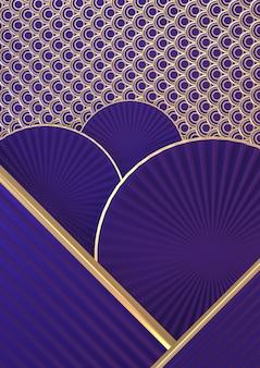 Simulação vertical japonesa acima. geométrica mínima roxa escura. renderização 3d