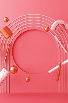 Simule a forma geométrica de ouro e textura de vidro com pódio de cor rosa para o produto