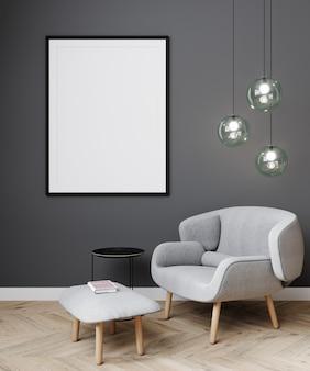Simule a moldura do pôster em um fundo interior moderno, sala de estar