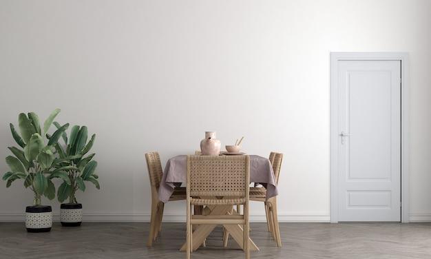 Simule a moldura do pôster em um fundo interior moderno, sala de jantar