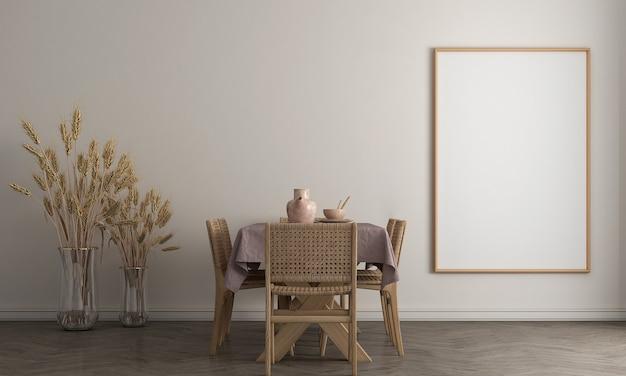 Simule a moldura do pôster em um fundo interior moderno