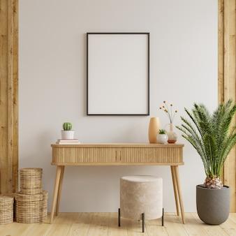 Simule a moldura do pôster no gabinete no interior. renderização 3d