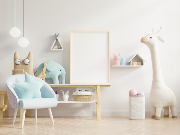Simule a moldura do pôster no quarto das crianças, quarto das crianças, maquete do berçário, renderização em 3d
