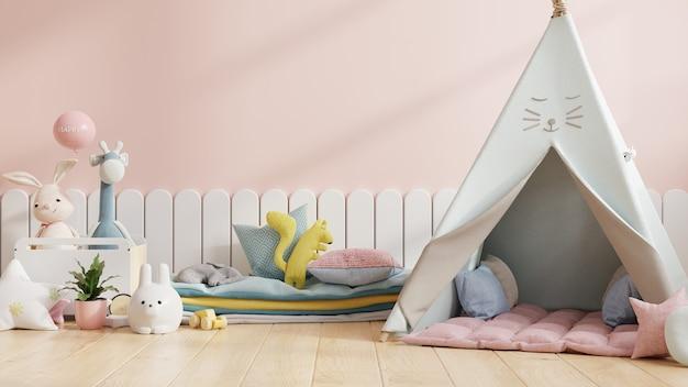 Simule a parede do quarto das crianças com uma cadeira em um fundo de cor rosa claro, renderização em 3d