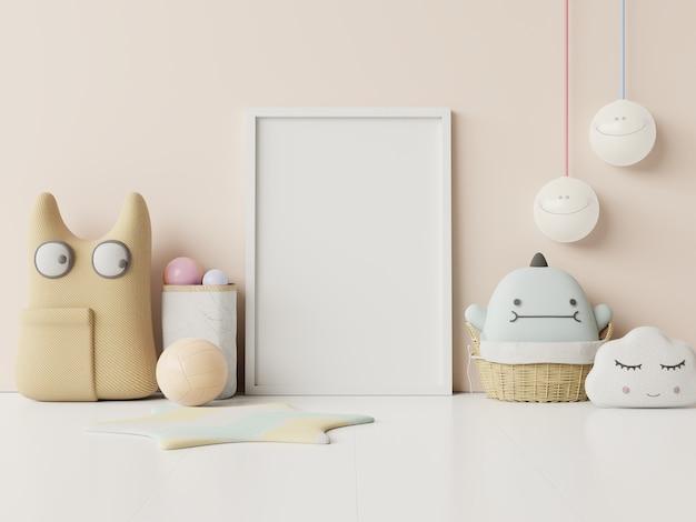 Simule pôsteres no interior do quarto infantil, pôsteres no fundo da parede de cor creme vazia, renderização 3d