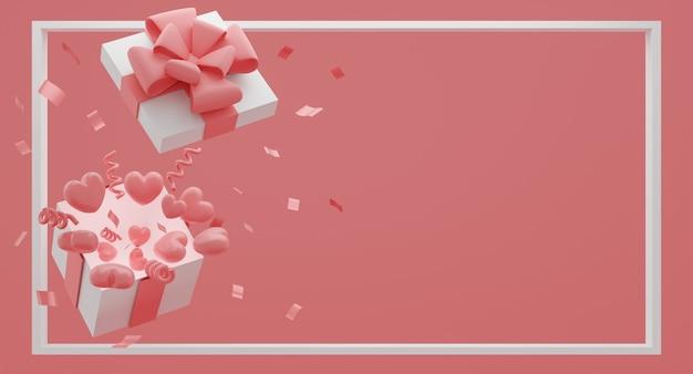 Simule uma caixa de presente com corações de balões voadores