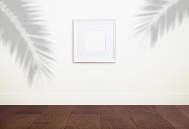 Simule uma moldura branca vazia com uma moldura vazia para uma foto ou pintura
