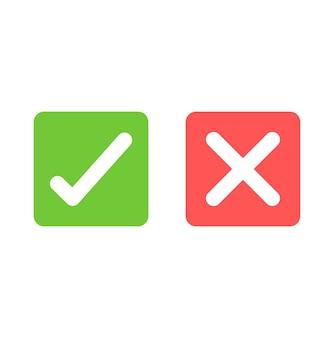 Sinais de carrapato e cruz. marca de seleção verde e ícones isolados de x vermelho. símbolos de marca de seleção.