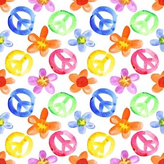 Sinais de paz coloridos e flores - plano de fundo transparente