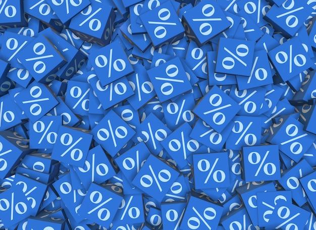 Sinais de porcentagem em cubos