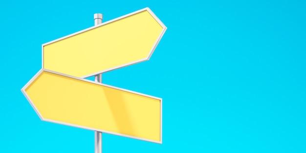 Sinais de trânsito com seta direcional amarela em branco 3d com fundo de céu azul, fundo de ilustração 3d