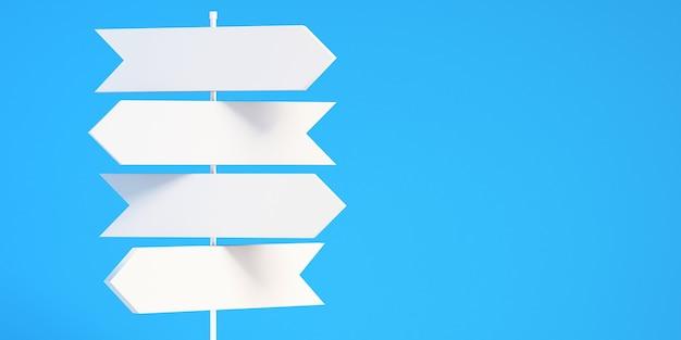 Sinais de trânsito com seta direcional branca em branco 3d com fundo de céu azul, fundo de ilustração 3d