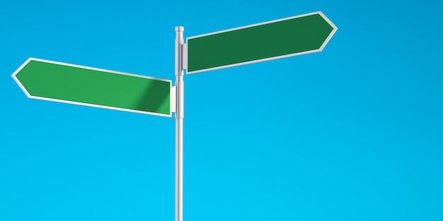 Sinais de trânsito com seta direcional verde em branco 3d com fundo de céu azul, fundo de ilustração 3d