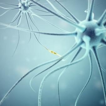 Sinais de transmissão de neurônios na cabeça