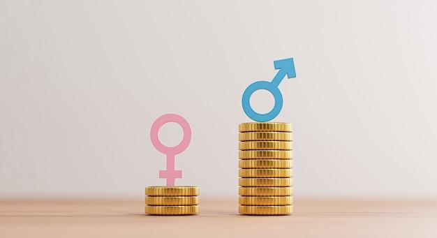 Sinal azul do homem em moedas empilhadas mais altas do que sinal de mulher rosa em moedas que se acumulam para direitos humanos de negócios desiguais e conceito de gênero por renderização em 3d.