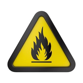Sinal de alerta de incêndio no triângulo amarelo. substâncias inflamáveis, inflamáveis em fundo branco. ilustração 3d isolada