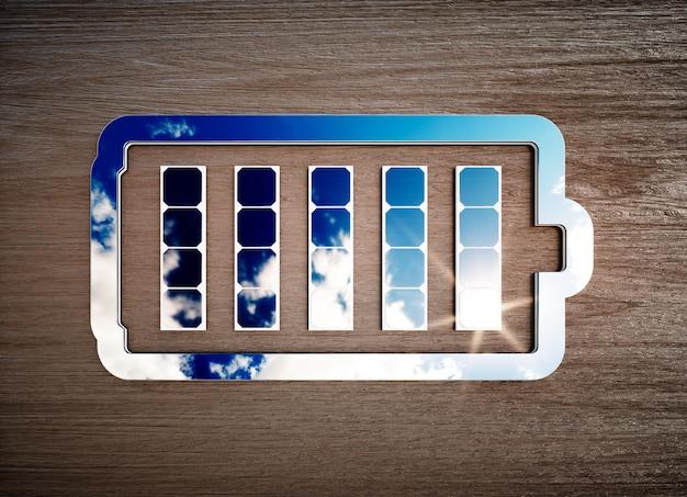 Sinal de armazenamento de energia renovável na mesa de madeira escura. ilustração 3d.
