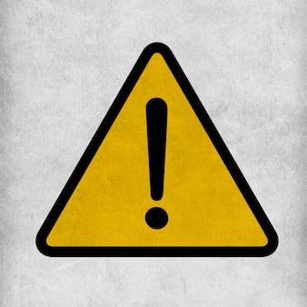 Sinal de atenção de advertência de perigo com o símbolo de ponto de exclamação