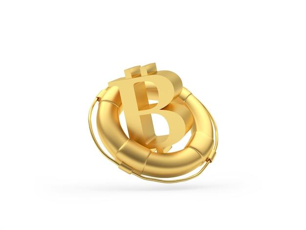 Sinal de bitcoin dourado em uma boia salva-vidas