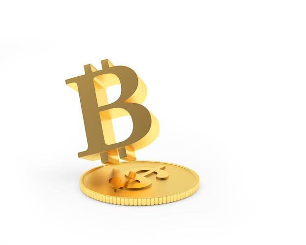 Sinal de bitcoin em moeda de dólar