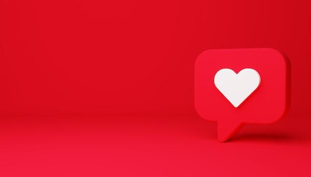Sinal de coração em ilustração 3d de fundo vermelho