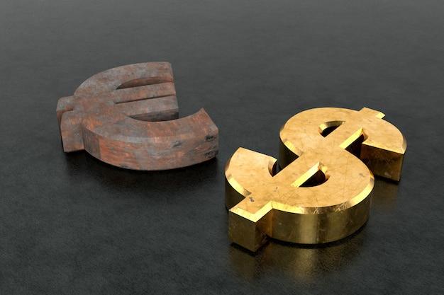 Sinal de euro enferrujado e cifrão dourado. renderização em 3d.