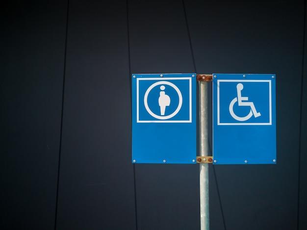 Sinal de informação de deficiente deficiente e sinal de grávida