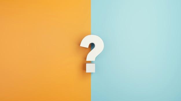 Sinal de interrogação branco sobre fundo amarelo e azul.