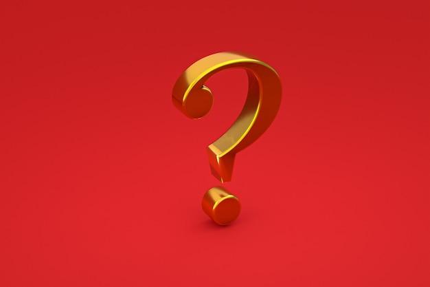 Sinal de interrogação dourado mínimo em fundo vermelho, renderização 3d, espaço mínimo e cópia