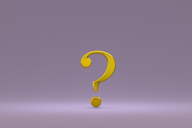 Sinal de interrogação dourado mínimo no fundo roxo, renderização 3d, espaço mínimo e cópia