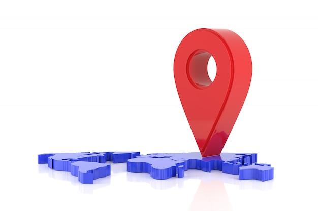 Sinal de localização no mapa do mundo