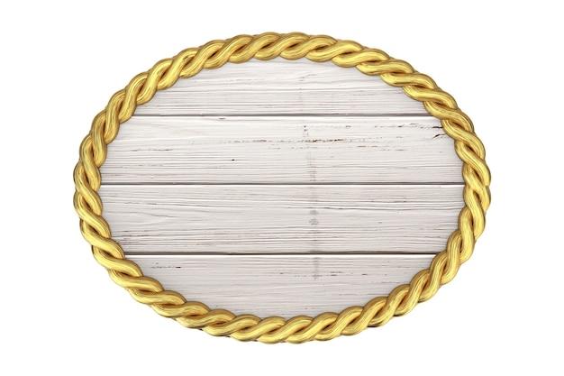Sinal de madeira e moldura de corda de elipse de ouro com espaço em branco para seu projeto em um fundo branco. renderização 3d