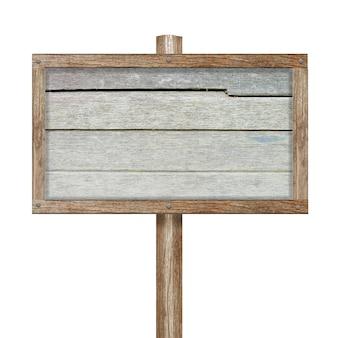 Sinal de madeira isolado no branco