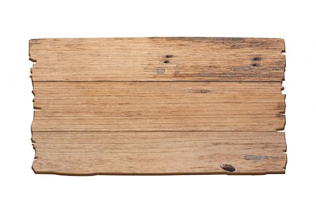 Sinal de madeira marrom isolado no fundo branco.