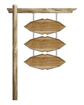 Sinal de madeira pendurado suspenso com correntes na pole