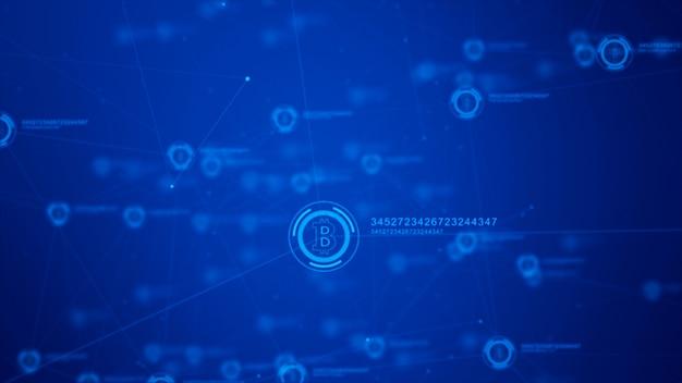 Sinal de moeda bitcoin no ciberespaço digital, rede para dinheiro do mundo