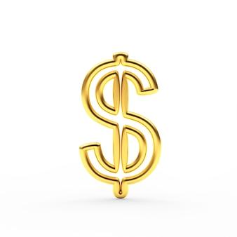Sinal de moeda dólar dourado