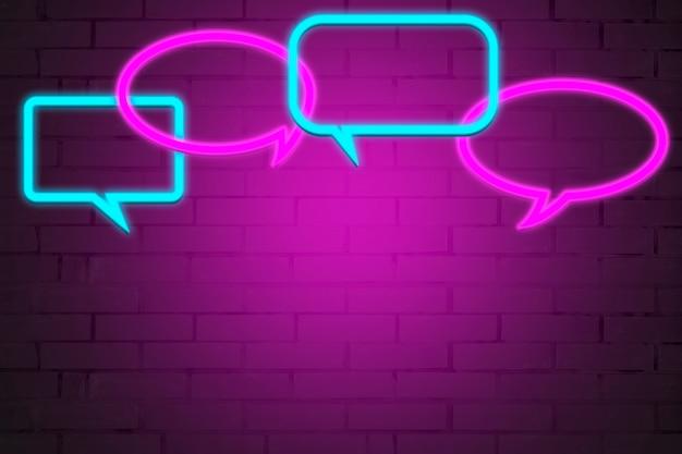 Sinal de néon com ícones de conversa.