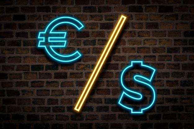 Sinal de néon com sinais de dólar e euro no fundo da parede de tijolo. conceito de troca de moeda.