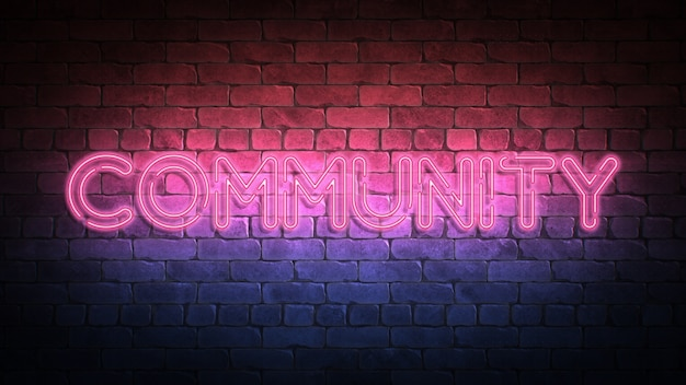 Sinal de néon comunitário em uma parede