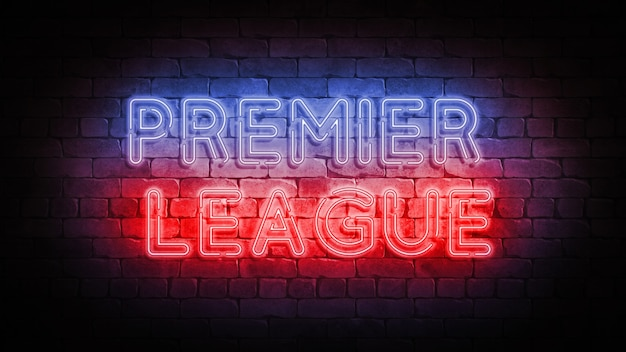 Sinal de néon da premier league em uma parede de tijolos. pôster 3d render