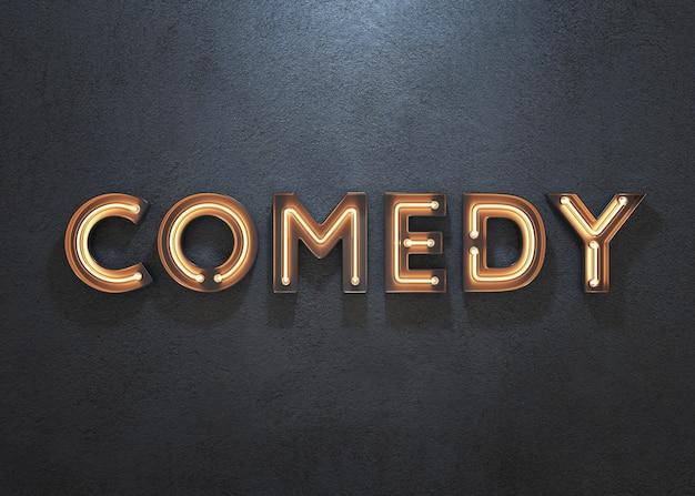 Sinal de néon de comédia em fundo escuro