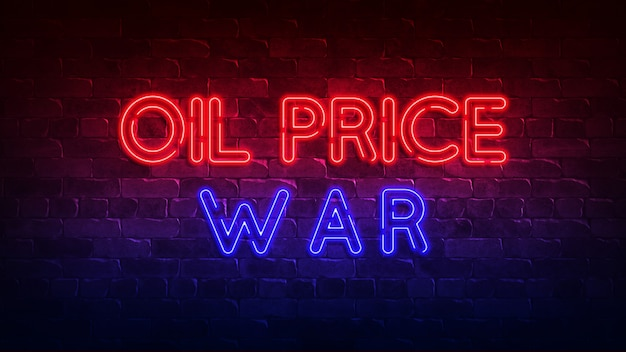 Sinal de néon de guerra de preços de petróleo. brilho vermelho e azul. texto de néon. parede de tijolos. ilustração 3d
