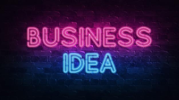 Sinal de néon de ideia de negócio.