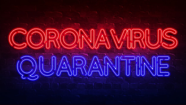 Sinal de néon de quarentena de coronavírus. brilho vermelho e azul. texto de néon. informações básicas conceituais para seu projeto com a inscrição. ilustração 3d