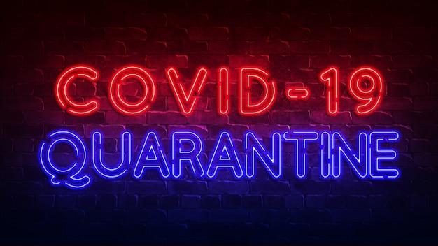 Sinal de néon de quarentena de covid-19. brilho vermelho e azul. texto de néon. ilustração 3d