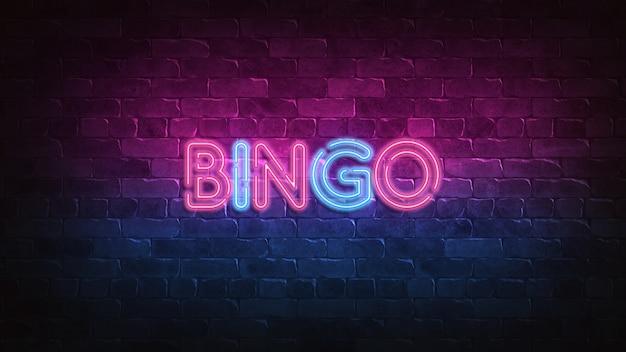 Sinal de néon do bingo na parede