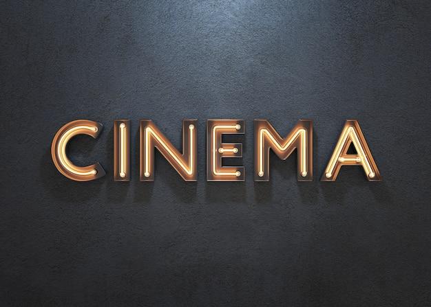 Sinal de néon do cinema no fundo escuro